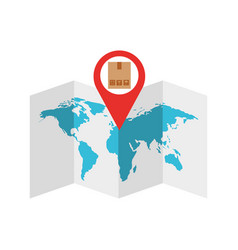 world map with pin location box vector image