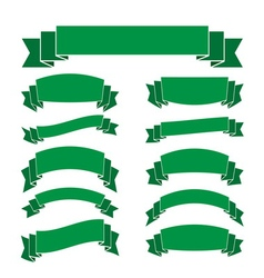 Green banners set blank decoration ribbons vector