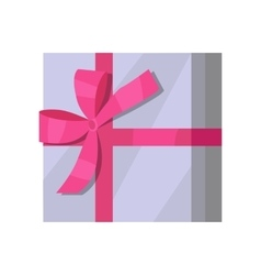 Silver Gift Box with Pink Ribbon vector image