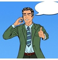 Pop Art Businessman Talking on the Phone vector image