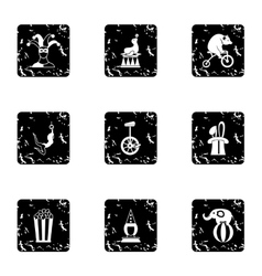 Concert in circus icons set grunge style vector