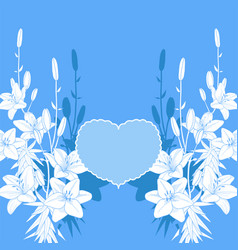 Blue and white lily love card wedding invitation vector