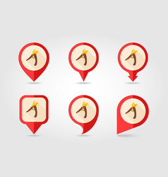 Secateurs pruner averruncator flat pin map icon vector