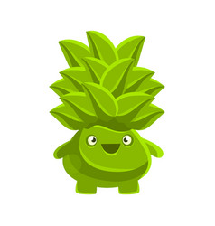 Happy smiling succulent emoji cartoon emotions vector