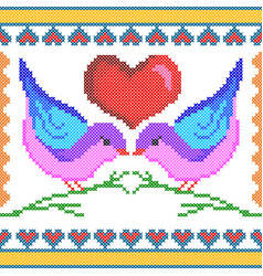 Cross stitch embroidery love bird design for vector