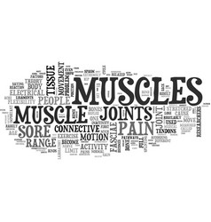 Why muscles get sore text word cloud concept vector