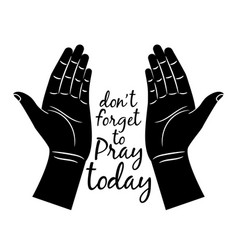 Jesus praying hands silhouette vector