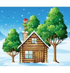 A wooden house with an elf at the top vector