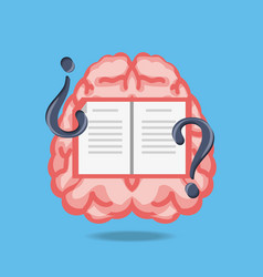 brain with book and questions symbols vector image