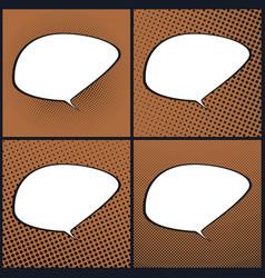 Set of orange pop art retro speech bubble vector