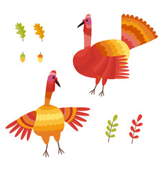 Thanksgiving set collection with autumn vector