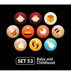 Flat icons set 53 - baby and childhood vector