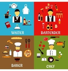 Chef baker waiter and bartender professions vector