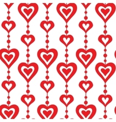 Red hearts and pearls seamless pattern vector