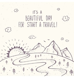 mountains and traveling vector image