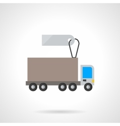 Lorry vehicle with label flat icon vector