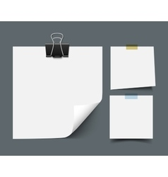 White sticky note paper sheets vector