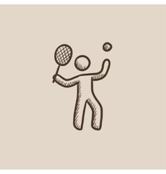 Man playing big tennis sketch icon vector