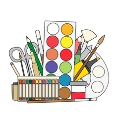 Art and back to school supplies- paint brushes vector