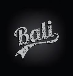 Bali paradise island retro varsity text grungy vector