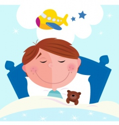 cartoon boy sleeping vector image vector image