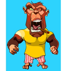 cartoon scary red monkey gorilla with an open vector image vector image