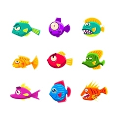 Colorful cartoon tropical fish set vector