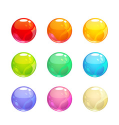 colorful glossy bubbles set vector image vector image