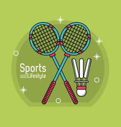 colorful poster of sport lifestyle with badminton vector image