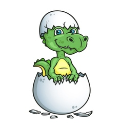 Cute dinosaur or dragon in an egg shell vector