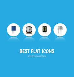 Flat icon electronics set of hdd receptacle vector