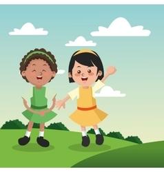 Group of happy girls cartoon kids vector