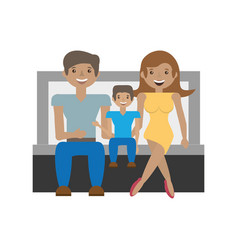 happy family love members sitting sofa vector image vector image
