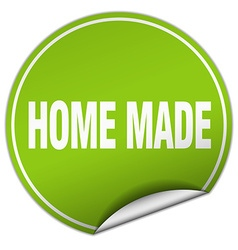 Home made round green sticker isolated on white vector