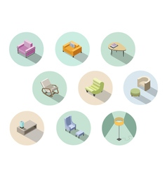 Isometric set of modern living room furniture home vector