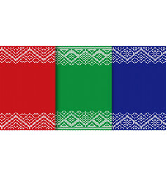 Knitted christmas background set of three colors vector
