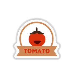 label icon on design sticker collection tomato vector image
