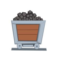 mining wooden wagon on railway vector image