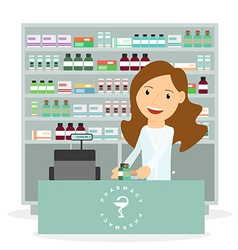 Modern flat of a female pharmacist showing vector image vector image