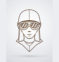 pilot face with sunglasses graphic vector image