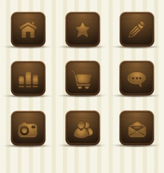 realistic wooden icons part 1 vector image