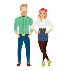 Retro style dressed fashion couple vector