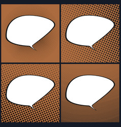Set of orange pop art retro speech bubble vector