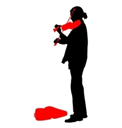 Silhouette street violinist on white background vector image vector image