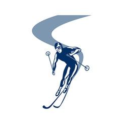Skiing slalom downhill vector