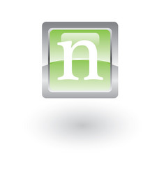 square glossy icon letter n vector image vector image