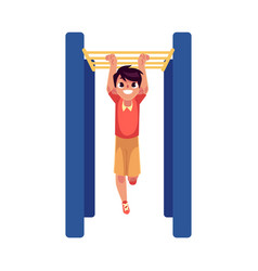 Teenage caucasian boy climbing hanging on monkey vector