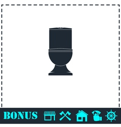 Toilet bowl icon flat vector