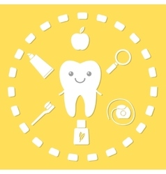 Tooth and hygiene things vector image vector image