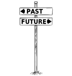 Two arrow sign drawing of past and future vector